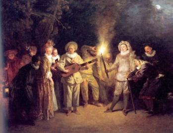 Jean antoine watteau love in the italian theatre